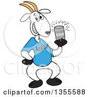 Clipart Of A Cartoon Goat Wearing A Recycle Shirt And Holding A Tin Can Royalty Free Vector Illustration by LaffToon