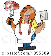 Cartoon Jolly Chubby Black Male Butcher Holding A Cleaver Knife And Ham Wearing Sausage Around His Neck