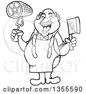 Outline Clipart Of A Cartoon Black And White Jolly Chubby Male Butcher Holding A Cleaver Knife And Ham Wearing Sausage Around His Neck Royalty Free Lineart Vector Illustration by LaffToon