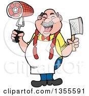 Cartoon Jolly Chubby White Male Butcher Holding A Cleaver Knife And Ham Wearing Sausage Around His Neck