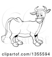 Cartoon Black And White Happy Cow
