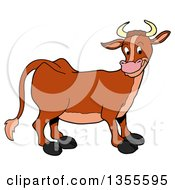 Clipart Of A Cartoon Happy Brown Cow Royalty Free Vector Illustration