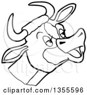 Cartoon Black And White Mooing Cow Head