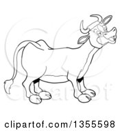 Cartoon Black And White Mooing Cow