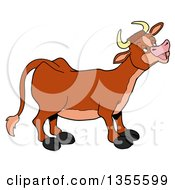 Clipart Of A Cartoon Mooing Cow Royalty Free Vector Illustration