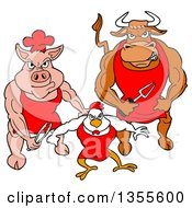 Clipart Of A Cartoon Buff Bbq Chef Bull Chicken And Pig Flexing Their Muscles Royalty Free Vector Illustration