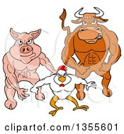 Clipart Of A Cartoon Buff Bull Chicken And Pig Flexing Their Muscles Royalty Free Vector Illustration