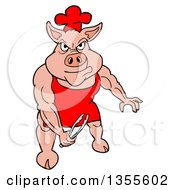 Cartoon Bbq Chef Buff Pig Holding Tongs And Flexing His Muscles