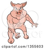 Clipart Of A Cartoon Buff Pig Flexing His Muscles Royalty Free Vector Illustration