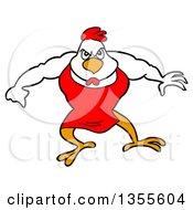Clipart Of A Cartoon Buff Bbq Chef Chicken Flexing His Muscles Royalty Free Vector Illustration