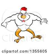 Clipart Of A Cartoon Buff Chicken Flexing His Muscles Royalty Free Vector Illustration