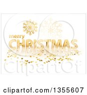Clipart Of A 3d Gold Merry Christmas Greeting With Stars And Snowflakes On White Royalty Free Vector Illustration by dero