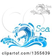 Clipart Of Blue And Gray Splash Or Surf Waves With Ocean Text Royalty Free Vector Illustration