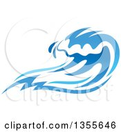 Clipart Of A Blue Splash Or Surf Wave Royalty Free Vector Illustration