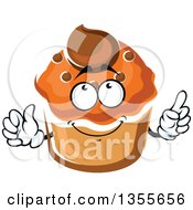 Clipart Of A Cartoon Cupcake Character Royalty Free Vector Illustration
