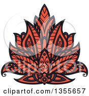 Clipart Of A Navy Blue And Orange Henna Lotus Flower Royalty Free Vector Illustration