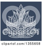 Clipart Of A White Ornate Henna Lotus Flower On Blue Royalty Free Vector Illustration