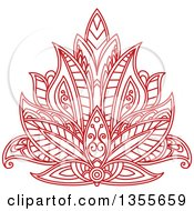 Clipart Of A Beautiful Ornate Red Henna Lotus Flower Royalty Free Vector Illustration