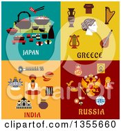 Clipart Of Flat Design Japan Greece India And Russia Culture Items Royalty Free Vector Illustration