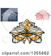 Clipart Of Beautiful Ornate Henna Lotus Flowers Royalty Free Vector Illustration