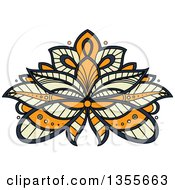 Clipart Of A Beautiful Ornate Navy Blue Yellow And Orange Henna Lotus Flower Royalty Free Vector Illustration