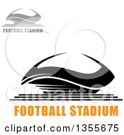 Clipart Of Gray And Black Sports Stadium Arena Buildings With Text Royalty Free Vector Illustration