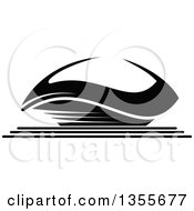 Clipart Of A Black And White Sports Stadium Arena Building Royalty Free Vector Illustration