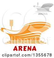 Clipart Of Gray And Orange Sports Stadium Arena Buildings With Text Royalty Free Vector Illustration