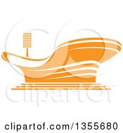 Clipart Of An Orange Sports Stadium Arena Building Royalty Free Vector Illustration