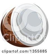Clipart Of A Cartoon Halved Coconut Royalty Free Vector Illustration