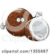 Clipart Of A Cartoon Coconut Character And Half Royalty Free Vector Illustration