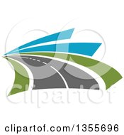 Clipart Of A Curving Two Lane Road With Green Grass And Blue Sky Royalty Free Vector Illustration