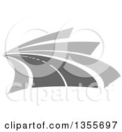 Clipart Of A Curving Grayscale Two Lane Road Royalty Free Vector Illustration