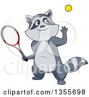 Clipart Of A Cartoon Sporty Raccoon Playing Tennis Royalty Free Vector Illustration by Vector Tradition SM