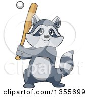 Clipart Of A Cartoon Sporty Raccoon Playing Baseball Royalty Free Vector Illustration by Vector Tradition SM