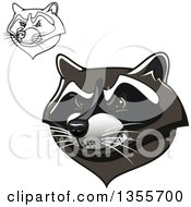 Clipart Of Colored And Black And White Tough Raccoon Mascot Heads Royalty Free Vector Illustration by Vector Tradition SM