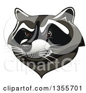 Clipart Of A Tough Raccoon Mascot Head Royalty Free Vector Illustration