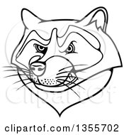 Clipart Of A Black And White Tough Raccoon Mascot Head Royalty Free Vector Illustration by Vector Tradition SM
