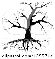 Clipart Of A Black Silhouetted Bare Tree Royalty Free Vector Illustration