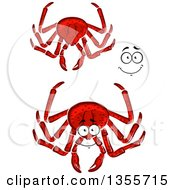Clipart Of A Cartoon Face Hands And Red Crabs Royalty Free Vector Illustration