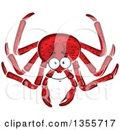 Clipart Of A Cartoon Red Crab Royalty Free Vector Illustration