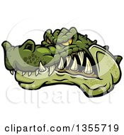 Clipart Of A Cartoon Tough Angry Crocodile Mascot Head Royalty Free Vector Illustration