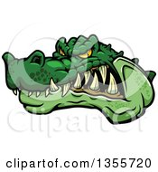 Clipart Of A Cartoon Tough Angry Green Crocodile Mascot Head Royalty Free Vector Illustration by Vector Tradition SM