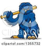 Clipart Of A Cartoonblue Owl Mascot Holding A Baseball Bat Royalty Free Vector Illustration