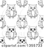 Clipart Of A Seamless Background Pattern Of Black And White Sketched Owls Royalty Free Vector Illustration