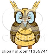 Clipart Of A Brown Owl With Blue Around His Eyes And Nose Royalty Free Vector Illustration
