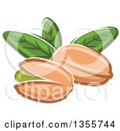 Clipart Of Cartoon Pistachio Nuts And Leaves Royalty Free Vector Illustration by Vector Tradition SM