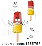 Clipart Of A Cartoon Face Hands And Red And Yellow Popsicles Royalty Free Vector Illustration