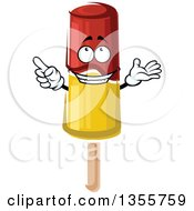 Clipart Of A Cartoon Red And Yellow Popsicle Character Royalty Free Vector Illustration by Vector Tradition SM