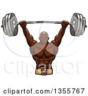 Clipart Of A Black Male Bodybuilder Holding Up A Heavy Barbell Royalty Free Vector Illustration